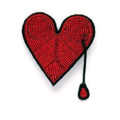 MOB 66 Coeur brodé rouge